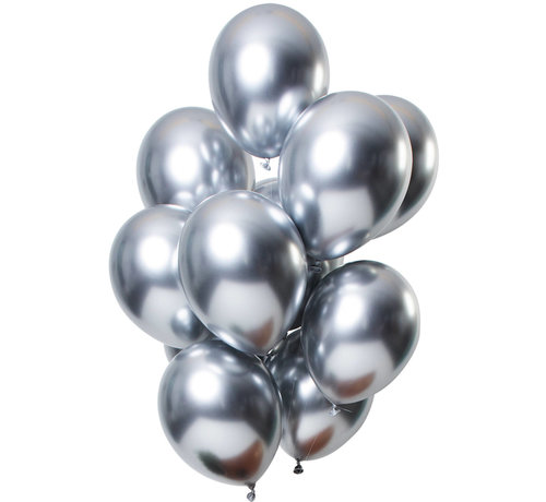 Ballonnen Mirror Chrome Zilver 33cm - 12 stuks