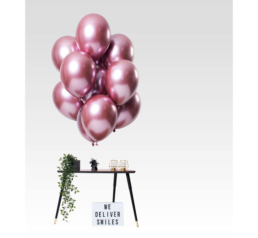 Ballonnen Mirror Chrome Roze 33cm - 12 stuks