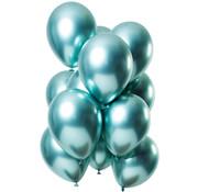 Ballonnen Mirror Chrome Groen 33cm - 12 stuks
