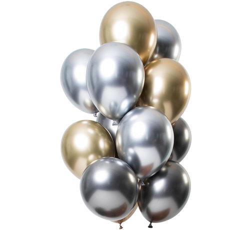 Ballonnen Mirror Chrome Onyx 33cm - 12 stuks