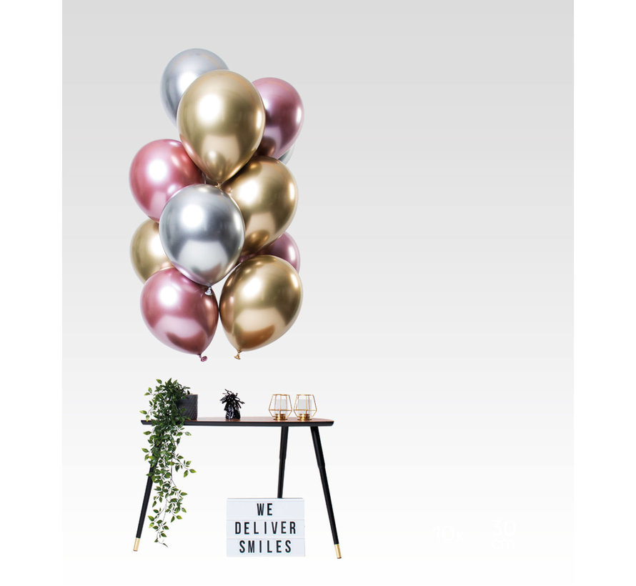 Ballonnen Mirror Chrome Morganite 33cm - 12 stuks