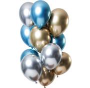 Ballonnen Mirror Chrome Sapphire 33cm - 12 stuks