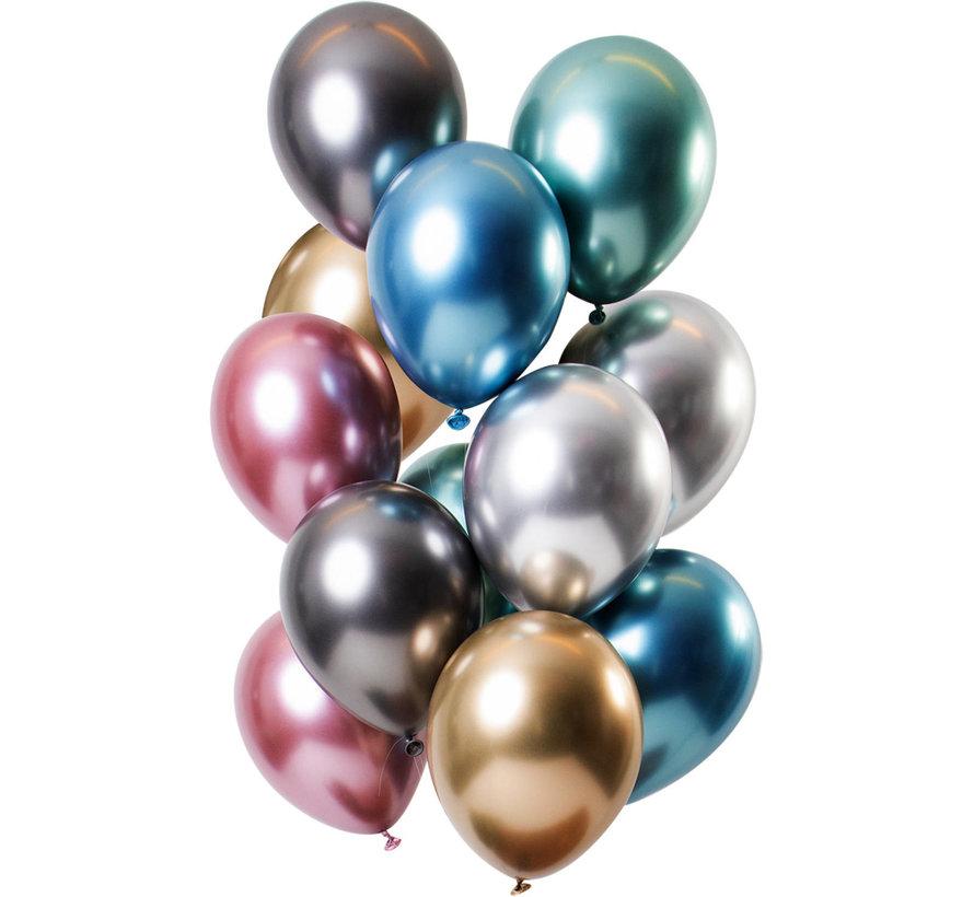 Ballonnen Mirror Chrome Treasures 33cm - 12 stuks