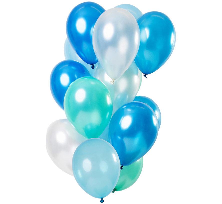 Ballonnen Blue Azure Metallic 30cm - 15 stuks