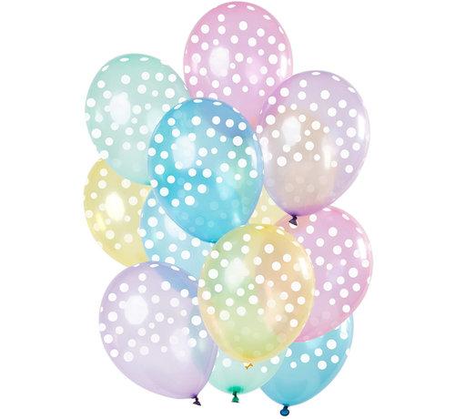 Ballonnen Stippen Pastel 30cm - 15 stuks
