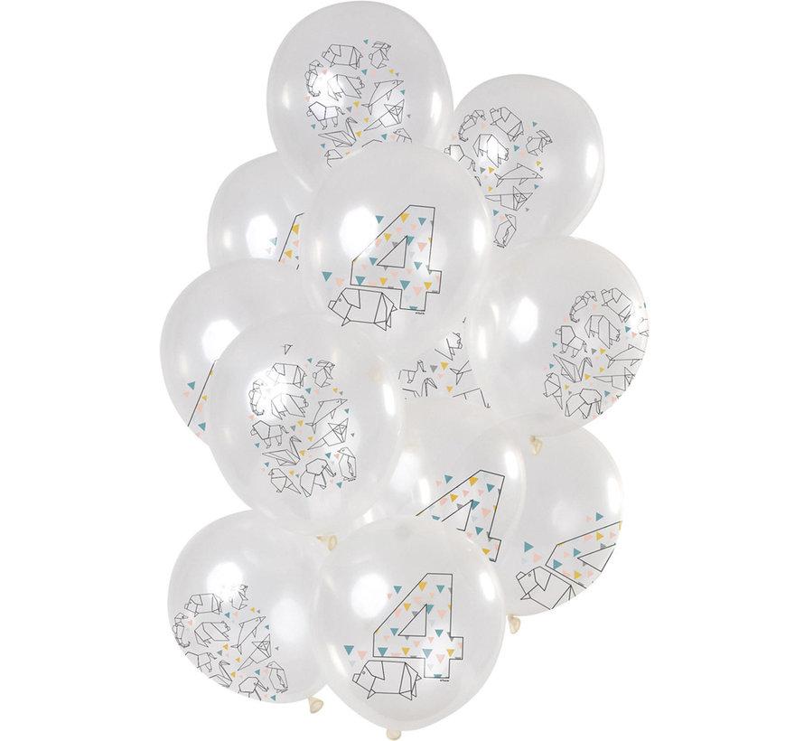 Ballonnen Origami 4 jaar 30cm - 12 stuks