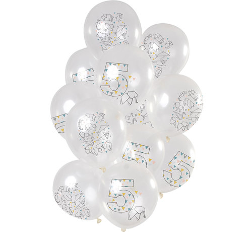 Ballonnen Origami 5 jaar 30cm - 12 stuks
