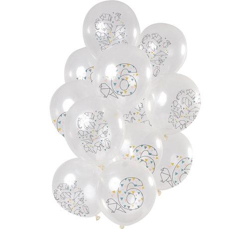 Ballonnen Origami 6 jaar 30cm - 12 stuks
