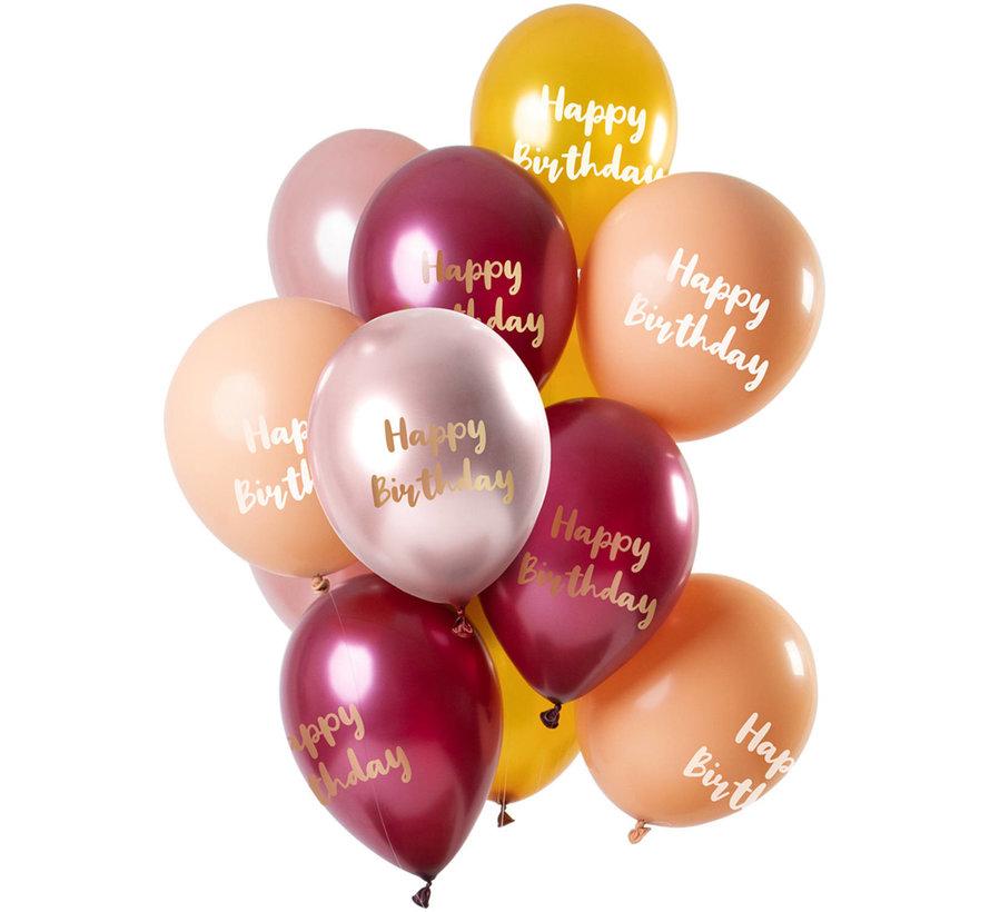 Ballonnen Set Happy Birthday Roze/Goud 30cm - 12 stuks