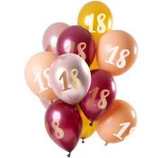 Ballonnen Set 18 Jaar Roze/Goud 30cm - 12 stuks