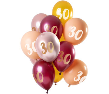 Ballonnen Set 30 Jaar Roze/Goud 30cm - 12 stuks