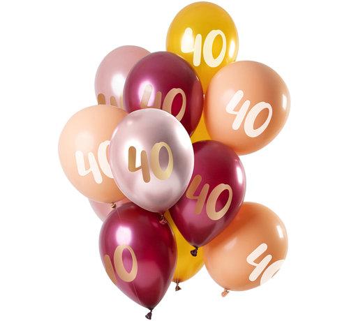 Ballonnen Set 40 Jaar Roze/Goud 30cm - 12 stuks