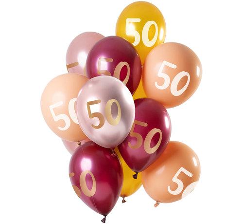 Ballonnen Set 50 Jaar Roze/Goud 30cm - 12 stuks