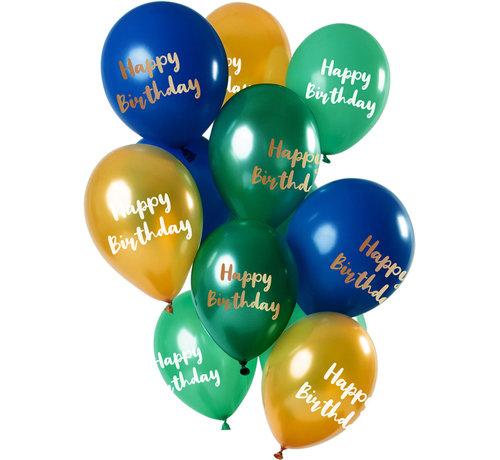 Ballonnen Set Happy Birthday Groen/Goud 30cm - 12 stuks