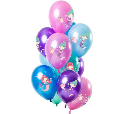 Ballonnen Zeermeermin Metallic 30cm - 12 stuks