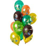 Ballonnen Dinosaurus Metallic Groen 30cm - 12 stuks