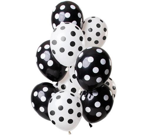 Ballonnen Polkadots Zwart/Wit 30cm - 12 stuks