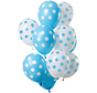 Ballonnen Polkadots Blauw/Wit 30cm - 12 stuks