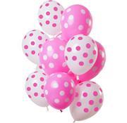 Ballonnen Polkadots Roze/Wit 30cm - 12 stuks
