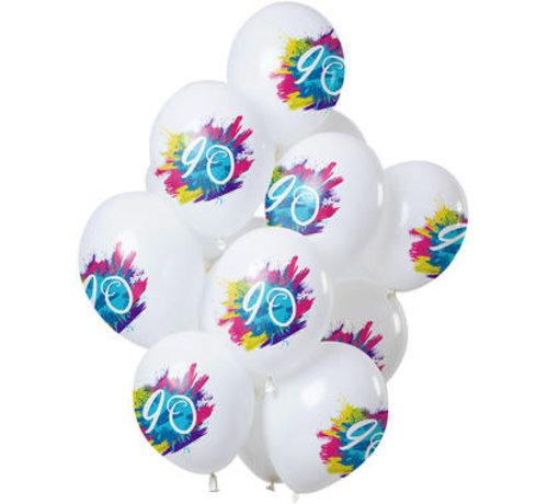 Ballonnen Color Splash 90 Jaar - 12 stuks