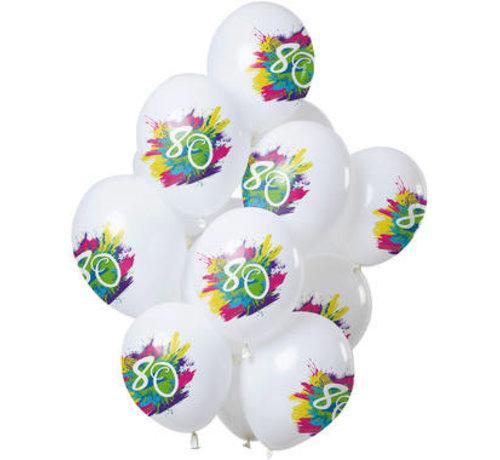 Ballonnen Color Splash 80 Jaar - 12 stuks