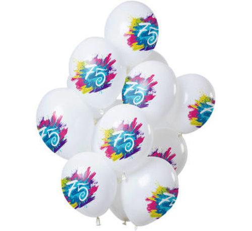 Ballonnen Color Splash 75 Jaar - 12 stuks