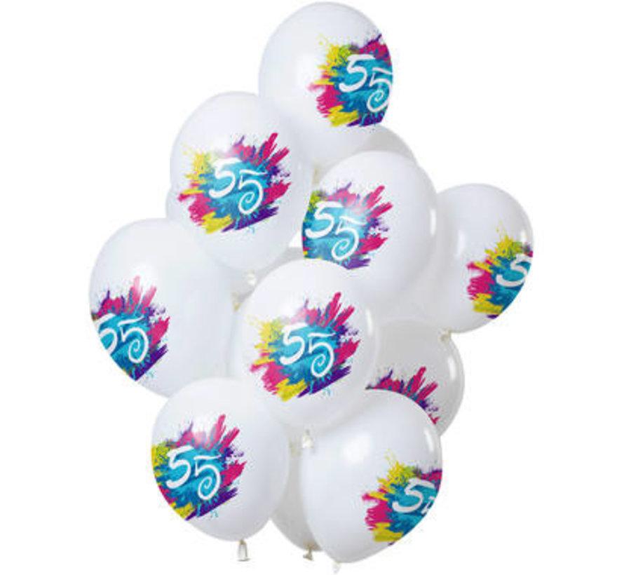Ballonnen Color Splash 55 Jaar - 12 stuks