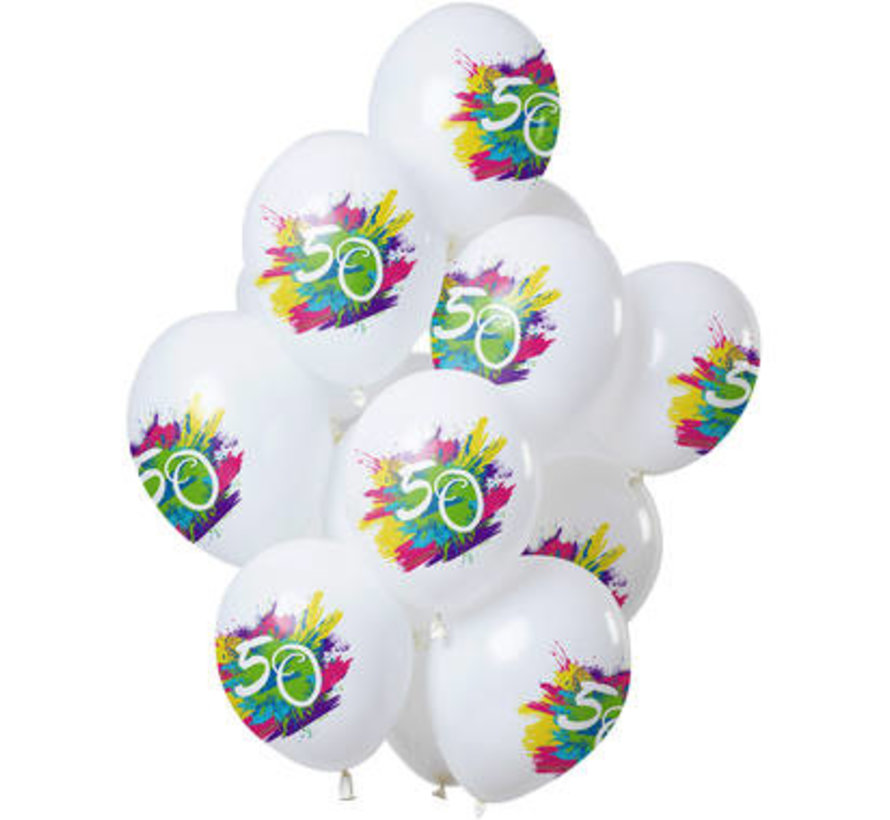 Ballonnen Color Splash 50 Jaar - 12 stuks