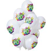 Ballonnen Color Splash 40 Jaar - 12 stuks