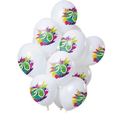 Ballonnen Color Splash 30 Jaar - 12 stuks