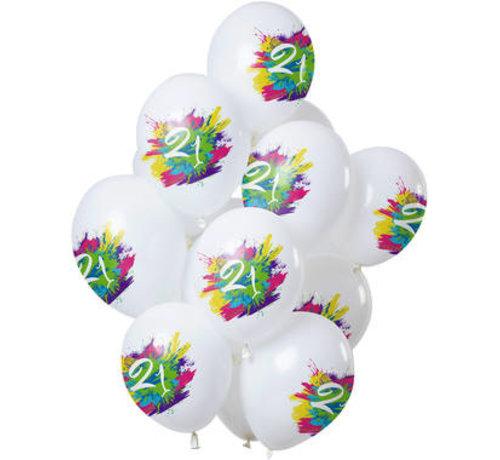 Ballonnen Color Splash 21 Jaar - 12 stuks