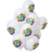 Ballonnen Color Splash 16 Jaar - 12 stuks