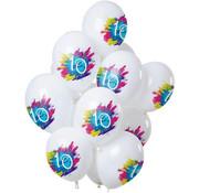 Ballonnen Color Splash 10 Jaar - 12 stuks