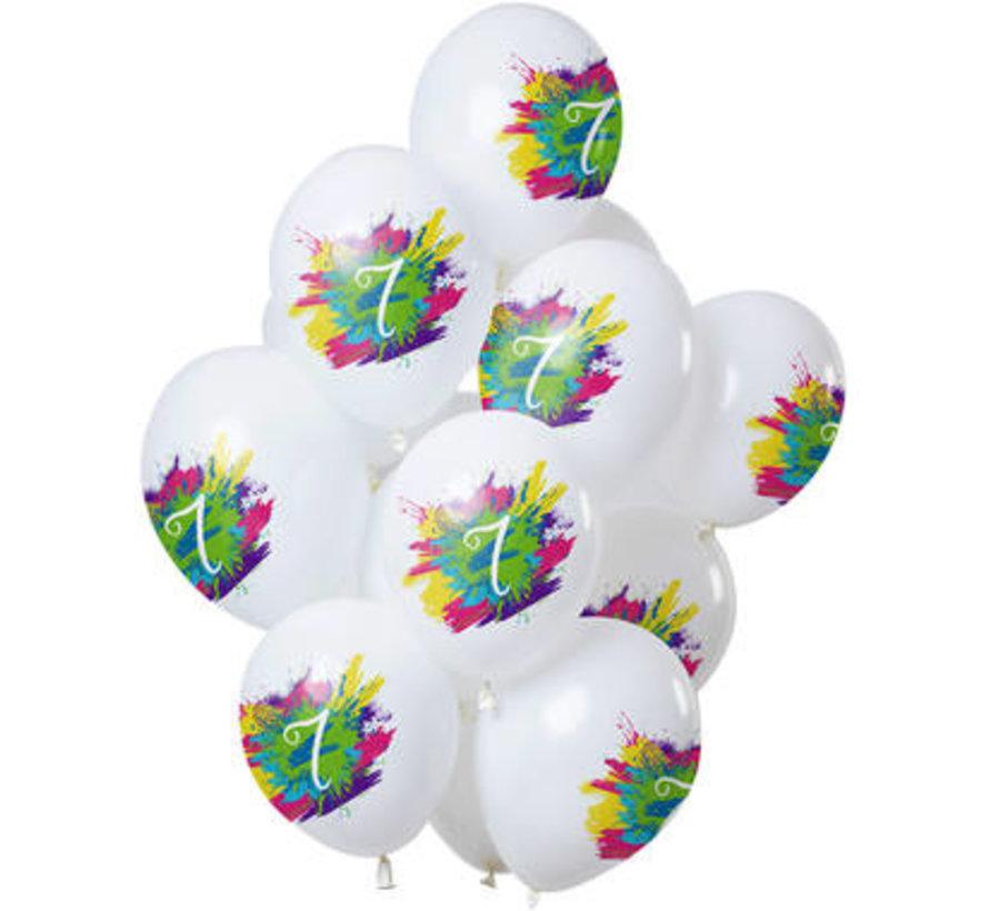 Ballonnen Color Splash 7 Jaar - 12 stuks