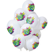 Ballonnen Color Splash 3 Jaar - 12 stuks