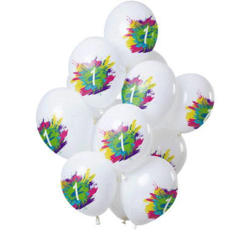 Ballonnen Color Splash 1 Jaar - 12 stuks
