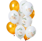 Ballonnen Bruiloft Mr en Mrs Goud/Wit  - 12 stuks