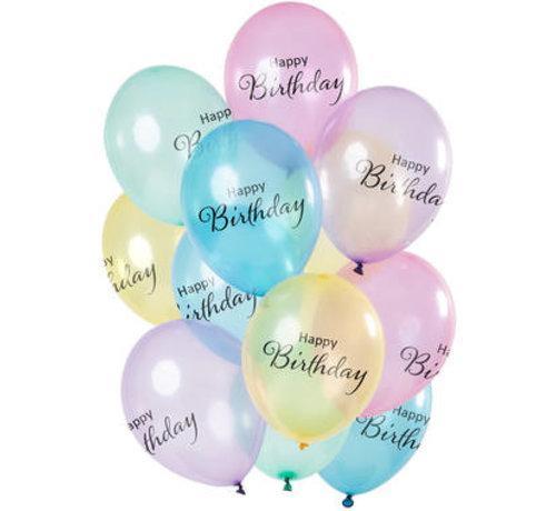 Ballonnen Happy Birthday Pastel - 12 stuks