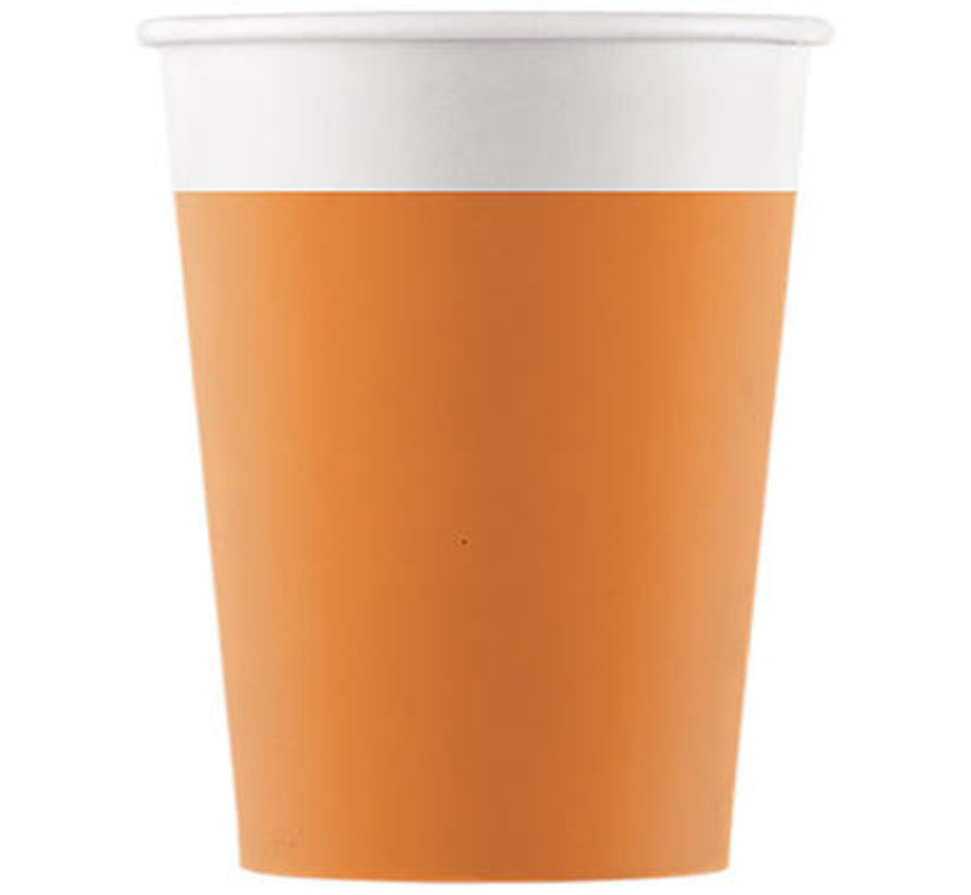 Bekers Papier Composteerbaar Oranje - 8 stuks