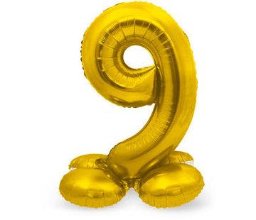 Cijfer Ballon Goud 9 Met Standaard - 72 cm