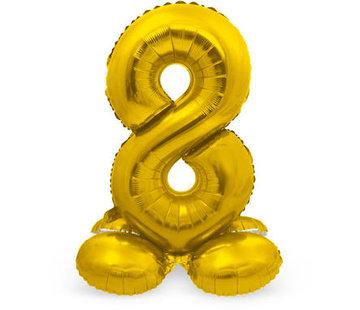 Cijfer Ballon Goud 8 Met Standaard - 72 cm