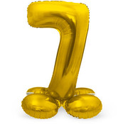 Cijfer Ballon Goud 7 Met Standaard - 72 cm