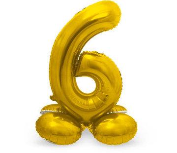 Cijfer Ballon Goud 6 Met Standaard - 72 cm