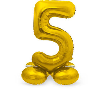 Cijfer Ballon Goud 5 Met Standaard - 72 cm