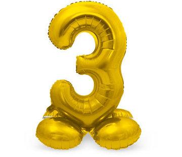 Cijfer Ballon Goud 3 Met Standaard - 72 cm