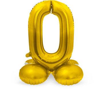 Cijfer Ballon Goud 0 Met Standaard - 72 cm