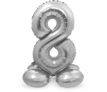 Cijfer Ballon Zilver 8  Met Standaard - 72 cm