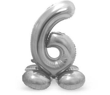 Cijfer Ballon Zilver 6 Met Standaard - 72 cm