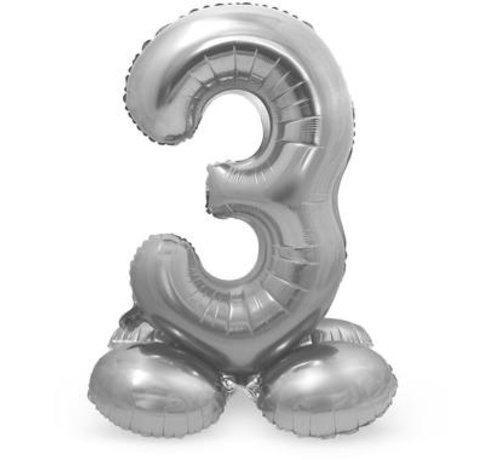 Cijfer Ballon Zilver 3  Met Standaard - 72 cm