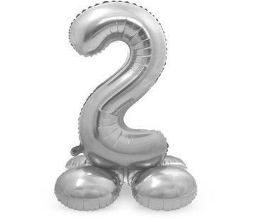 Cijfer Ballon Zilver 2  Met Standaard - 72 cm